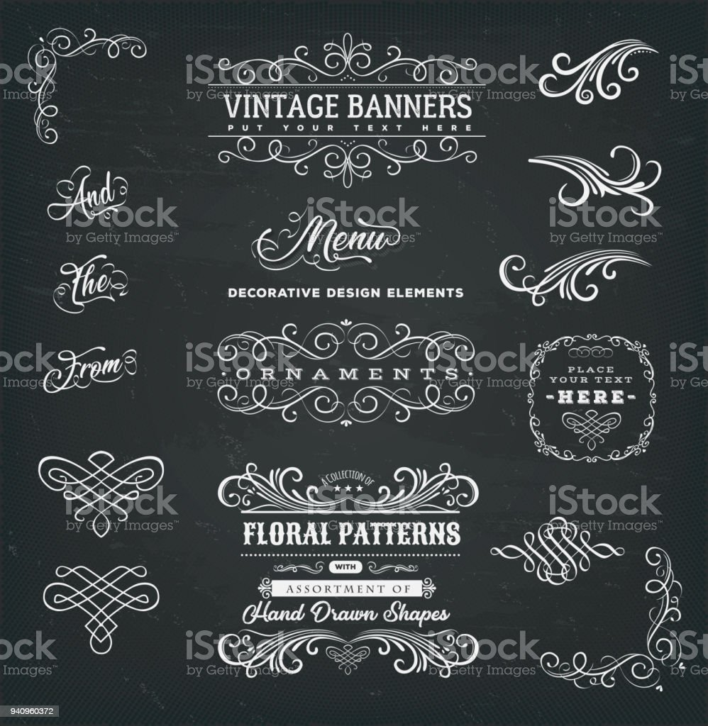 Calligraphic Frames And Banners On Chalkboard royalty-free calligraphic frames and banners on chalkboard stock illustration - download image now