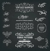 Illustration of a set of vintage corners and borders elements, with calligraphic floral shapes, ampersand, patterns and old-fashioned frame design on chalkboard