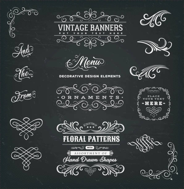 Calligraphic Frames And Banners On Chalkboard vector art illustration