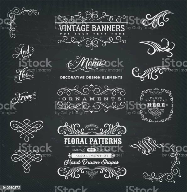 Images Calligraphiques Et Bannières Sur Tableau Noir Vecteurs libres de droits et plus d'images vectorielles de Antique