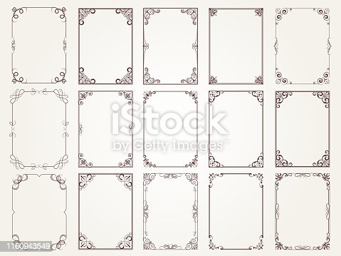 Calligraphic frames. Borders corners ornate frames for certificate floral classic vector designs collection. Illustration of filigree border card, floral rectangular frame