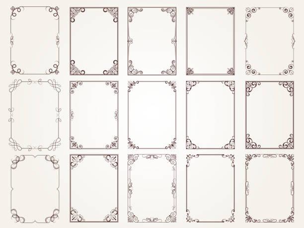 書法框架。邊框角華麗的框架證書花卉經典向量設計集合 - 有邊框的 幅插畫檔、美工圖案、卡通及圖標