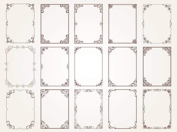 ilustrações de stock, clip art, desenhos animados e ícones de calligraphic frames. borders corners ornate frames for certificate floral classic vector designs collection - enfeitado