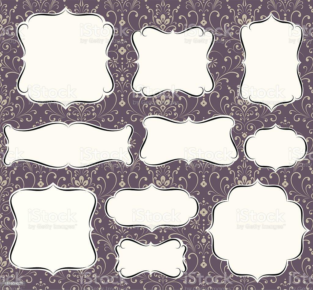 Calligraphic Frames on Damask Background vector art illustration