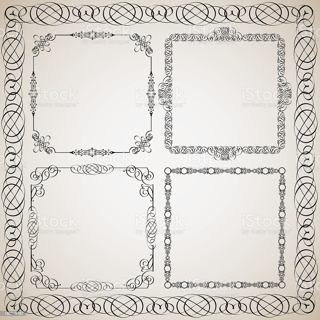Calligraphic Frames royalty-free stock vector art