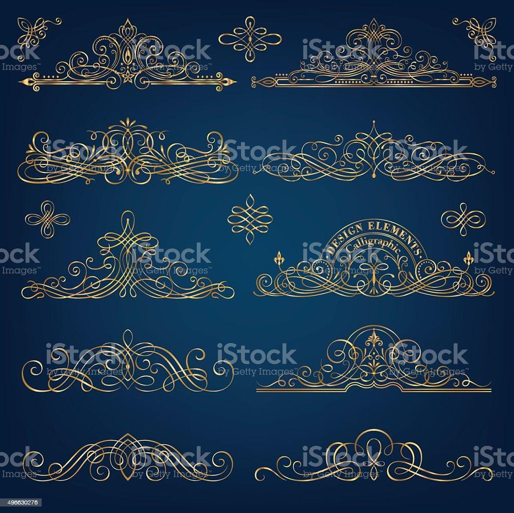 Calligraphic Golden Frames vector art illustration