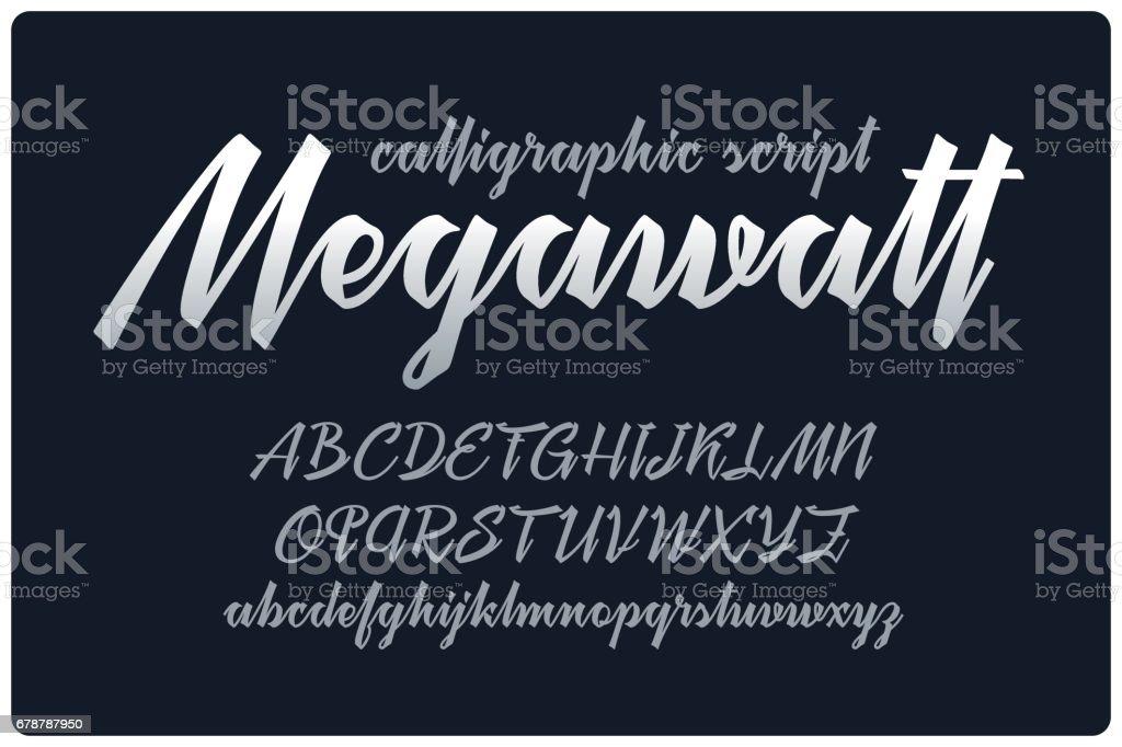 Calligraphic handwritten font named 'Megawatt' with connected letters. royalty-free calligraphic handwritten font named megawatt with connected letters stok vektör sanatı & alfabe'nin daha fazla görseli