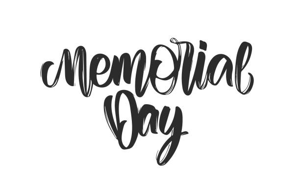 calligraphic handwritten type lettering composition of memorial day on white background - memorial day weekend stock illustrations