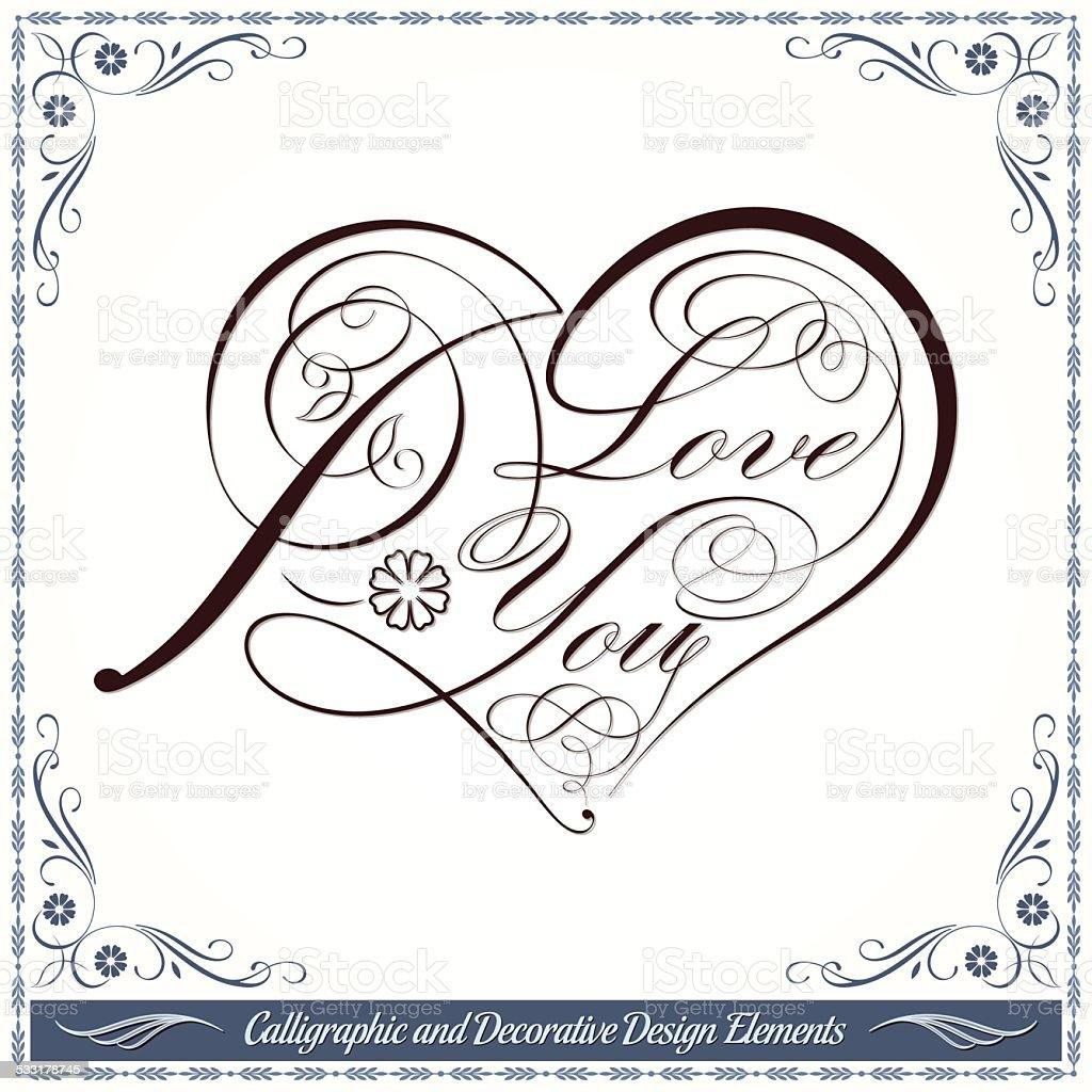 be764b59502527 Calligraphic Dia Dos Namorados Coração Decorativo Desenho - Arte ...