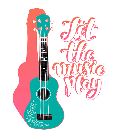 """Calligraphic inscription """"Let the music play"""" with ukulele or guitar. Music stamp, logo, poster. Vector design element."""