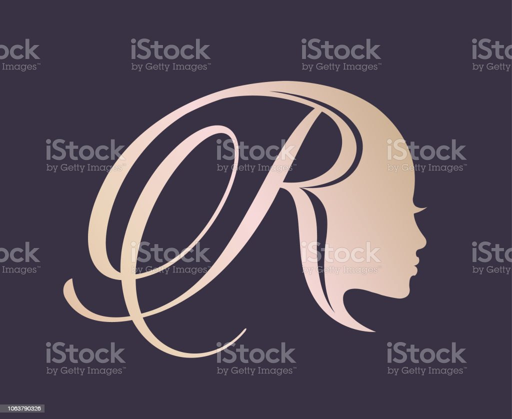Kalligraphische Buchstaben R Und Schöne Frau Porträt Stil Schönheit Und  Haarsalonvektorlogo Stock Vektor Art und mehr Bilder von Attraktive Frau