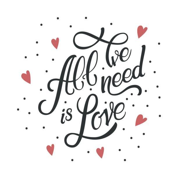 ilustrações de stock, clip art, desenhos animados e ícones de calligraphic lettering all we need is love. inscription in red hearts - coração fraco