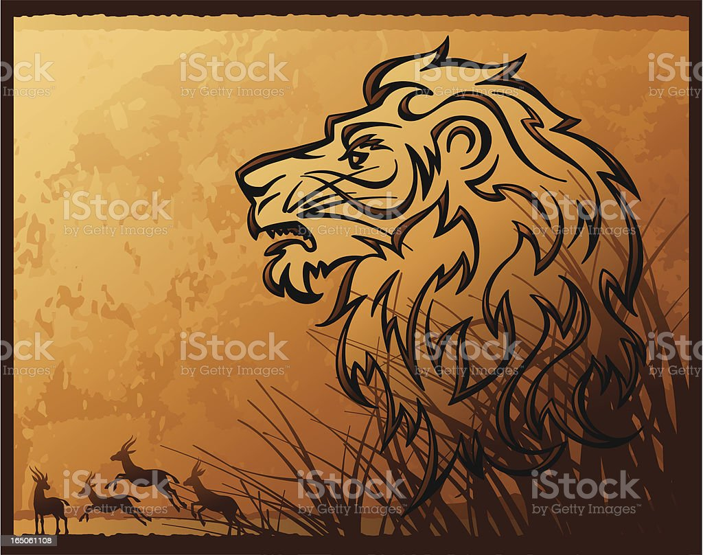 Calligraphic Lion royalty-free stock vector art