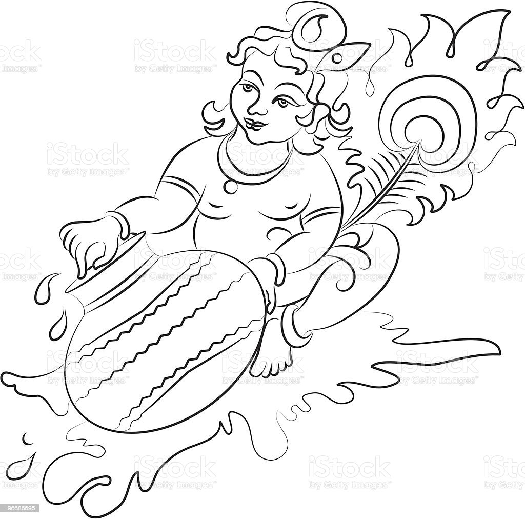 Calligraphic Lord Krishna eating butter from pot royalty-free stock vector art