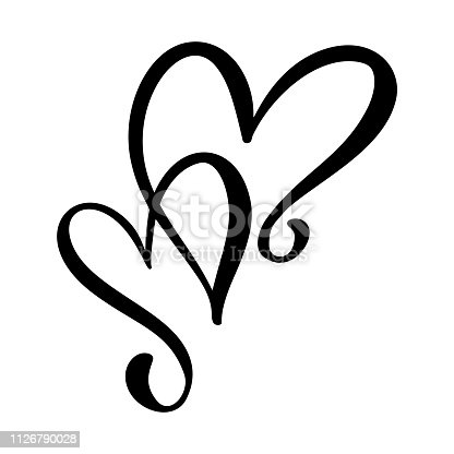 istock Calligraphic love heart sign. Vector Romantic illustration symbol join, passion and wedding. Calligraphy Design flat element of valentine day. Template for t-shirt, card, invitation 1126790028