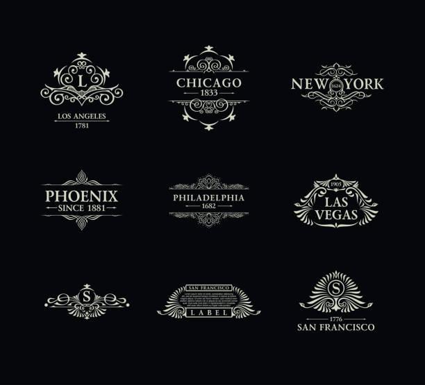 붓글씨 럭셔리 라인 엠 블 럼입니다. 우아한 상징 모노 그램 flourishes 로얄 빈티지 분배기 디자인 - 왕족 stock illustrations