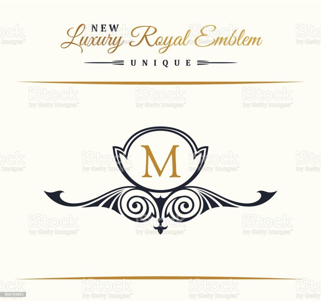 Calligraphic Luxury line Flourishes elegant emblem monogram. Royal vintage divider design vector art illustration