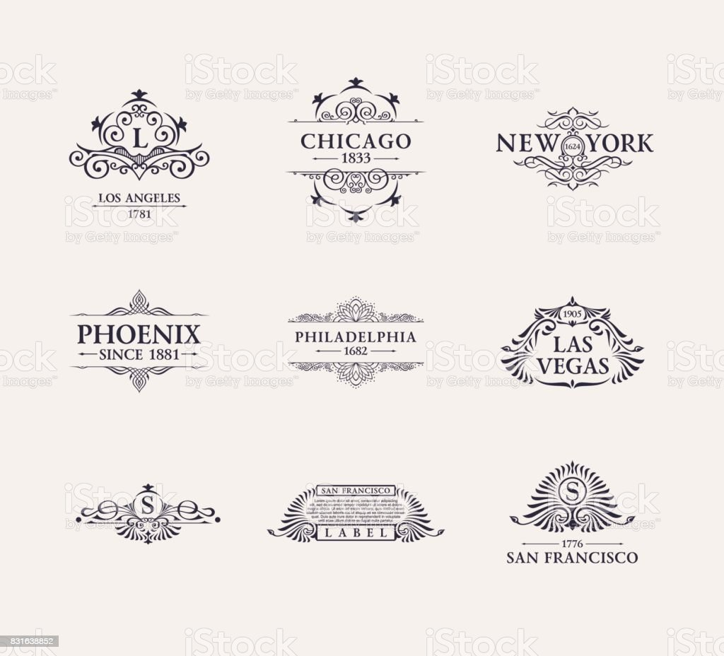 Calligraphic Luxury line icon. Flourishes elegant emblem monogram. Royal vintage divider design vector art illustration