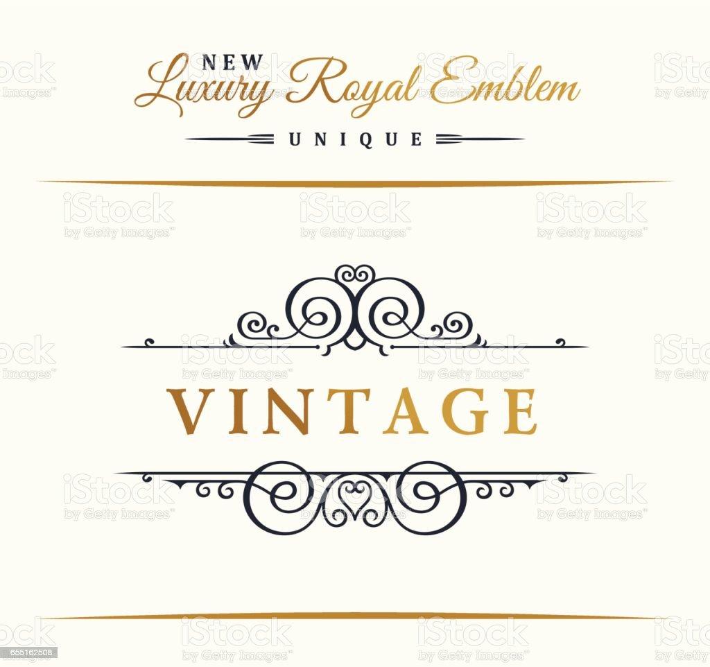 Calligraphic Luxury line symbol. Flourishes elegant emblem monogram. Royal vintage divider design vector art illustration