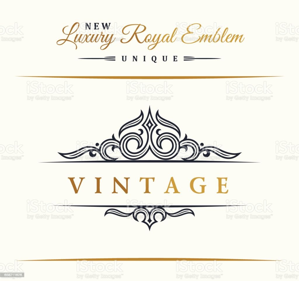 Calligraphic Luxury Line Symbol Flourishes Elegant Emblem