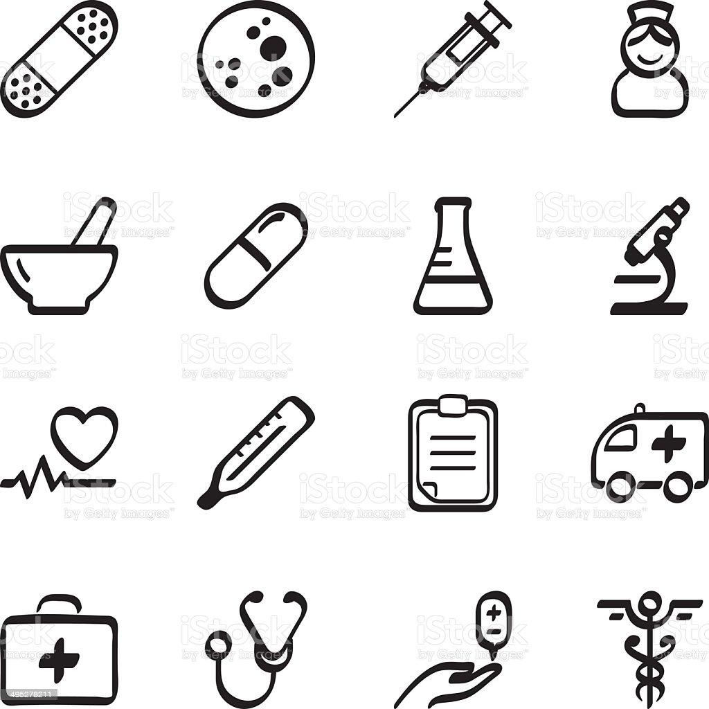 Calligraphic medicine icons vector art illustration