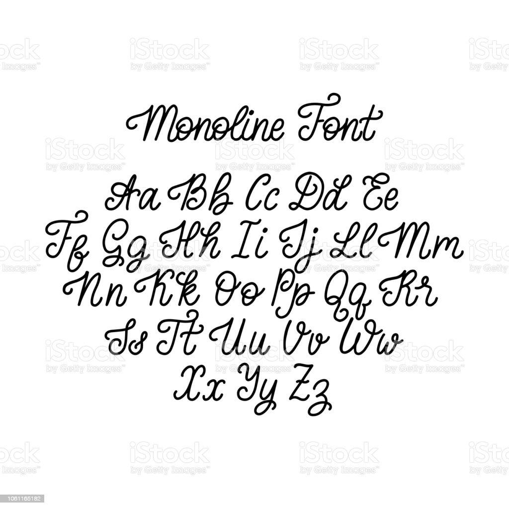 Calligraphic monoline font letters on white background. Vector hand lettering alphabet. - Royalty-free Alphabet stock vector