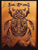 Calligraphic mythical Scarab