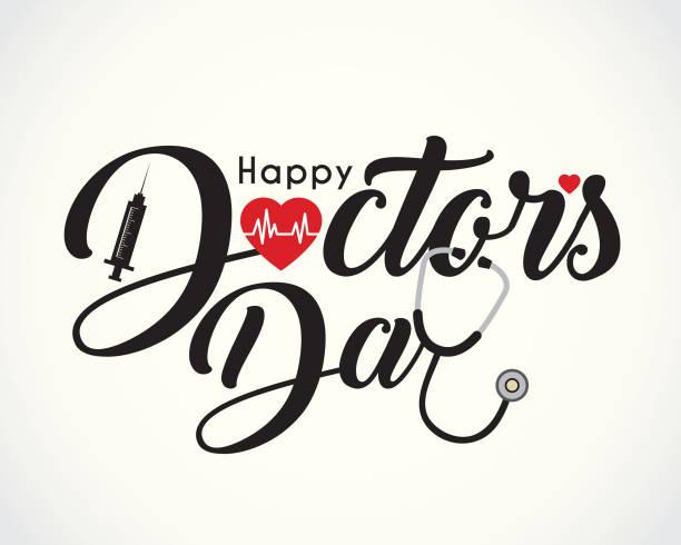 심장 박동의 상징으로 행복 한 의사의 날의 붓글씨, 주사기 > 청진 기 - doctor stock illustrations