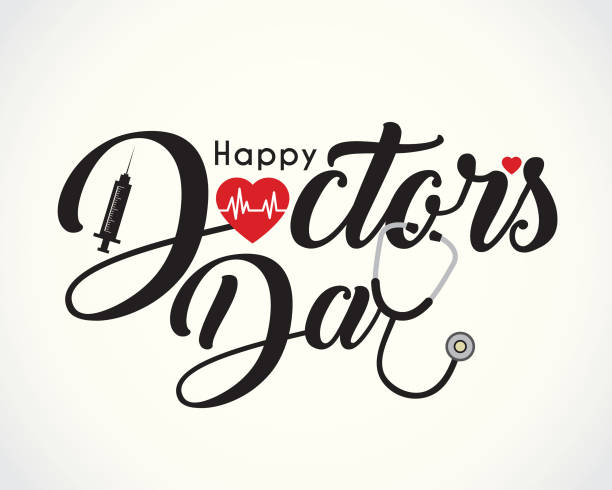 ilustrações de stock, clip art, desenhos animados e ícones de calligraphic of happy doctor's day with symbol of heartbeat, syringe & stethoscope - doctor