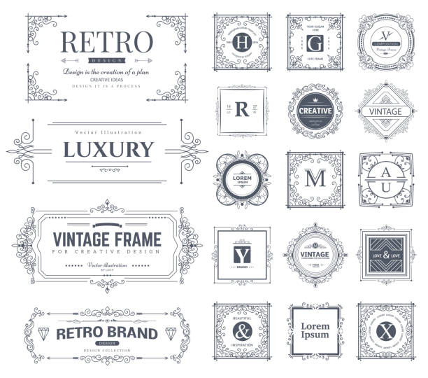 calligraphic ornaments and frames - architecture borders stock illustrations