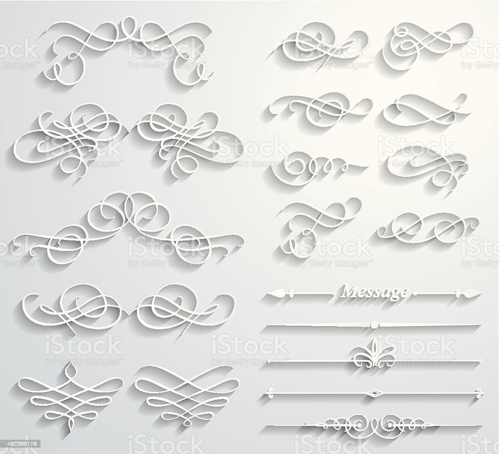 Calligraphic paper elements vector art illustration