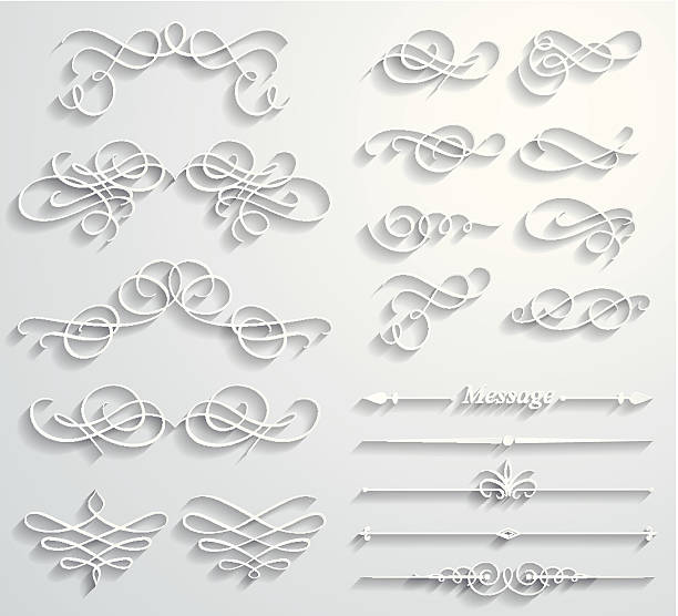 calligraphic paper elements - 古典風格 幅插畫檔、美工圖案、卡通及圖標