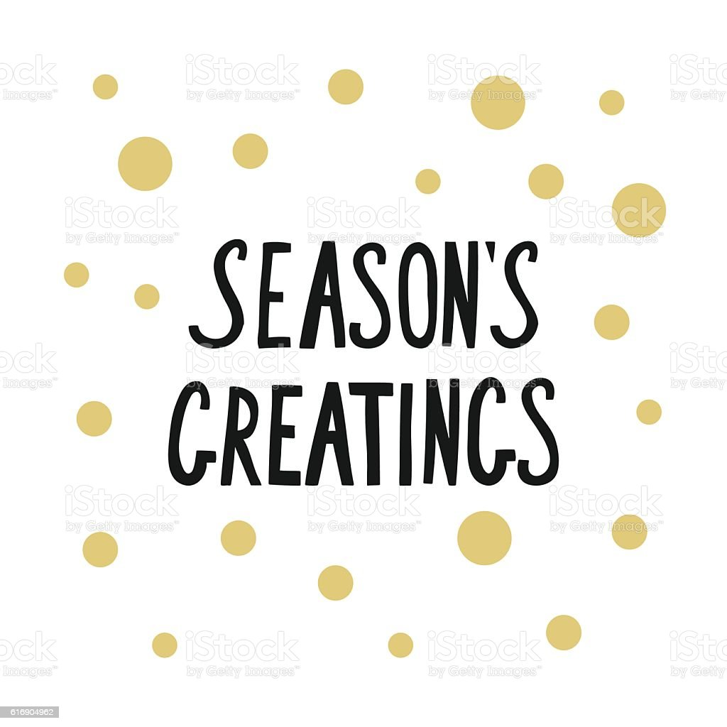 Calligraphic phrase seasons greetings with golden dots for card calligraphic phrase seasons greetings with golden dots for card royalty free calligraphic phrase seasons greetings m4hsunfo