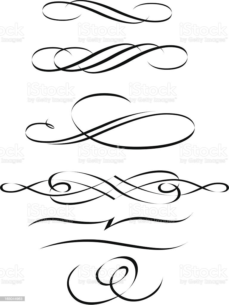 Drawing Lines For Calligraphy : Calligraphic scrolls stock vector art more images of