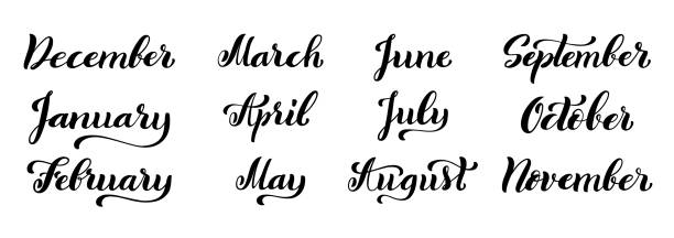 Calligraphic set of months of the year. December, January, February, March, April, May, June, July, August, September, October, November Big calligraphic set of months of the year. December, January, February, March, April, May, June, July, August, September, October, November handdrawn lettering for calendars. Vector illustration. january stock illustrations