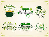 Calligraphic set of St Patrick's Day with festival elements on vintage paper background.