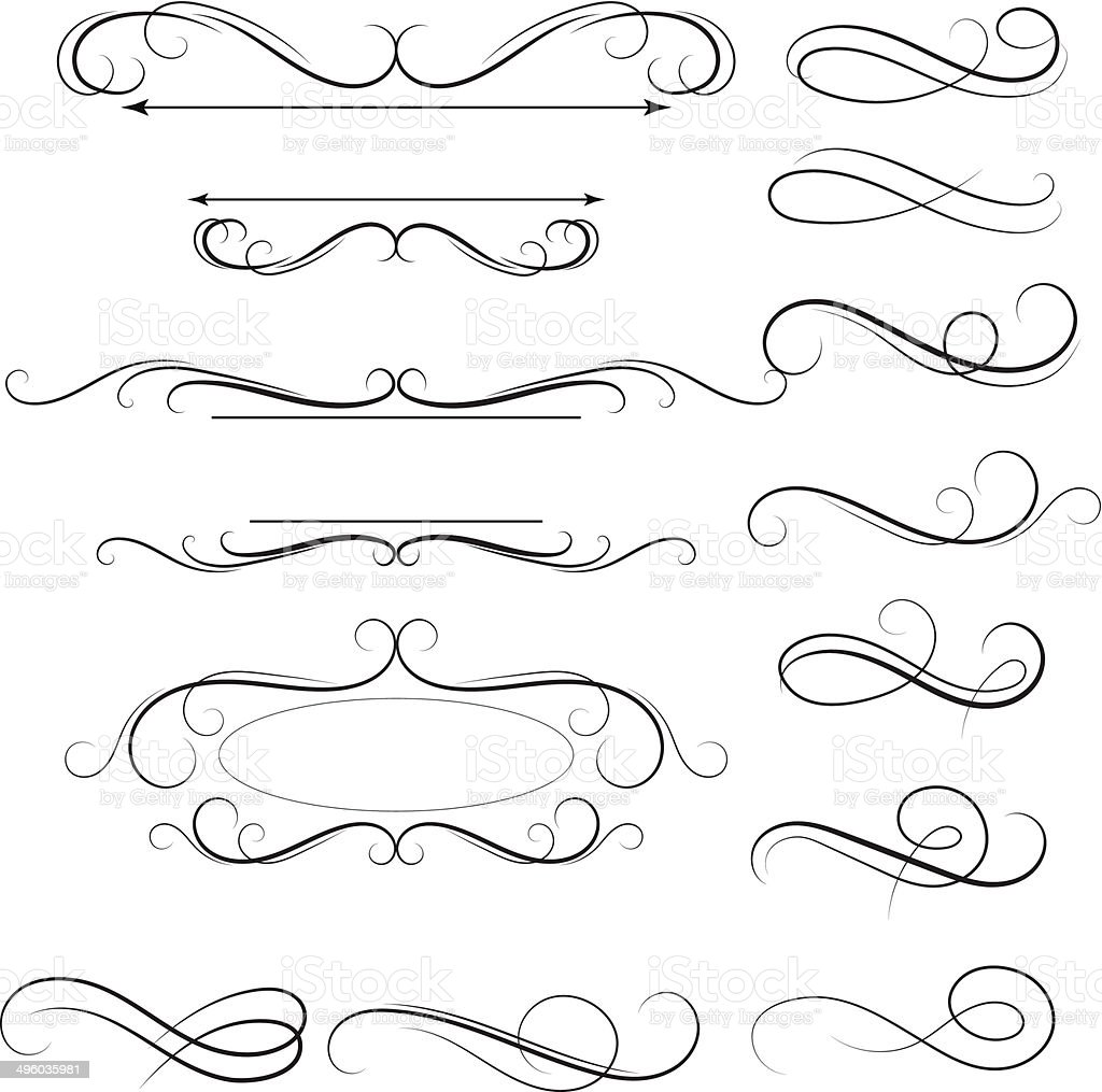 Calligraphic swirl vector art illustration