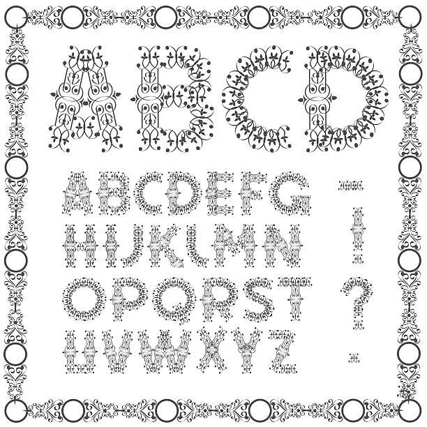 illustrations, cliparts, dessins animés et icônes de calligraphic swirly lettre de l'alphabet - enluminure bordure