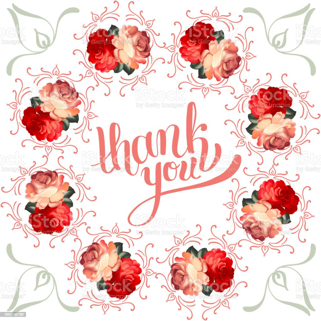 Ilustración de Calligraphic Thank You Post Card With ...