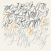 Calligraphic vector alphabet.