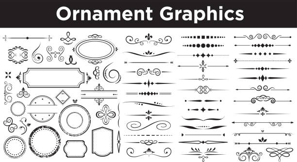 calligraphic Set of vector calligraphic elements book patterns stock illustrations