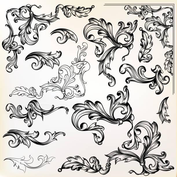 ilustrações, clipart, desenhos animados e ícones de redemoinhos e elementos do vetor caligráfico de projeto vintage - bordas florais