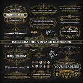 A collection of vintage styled chalkboard labels and elements. EPS 10 file, with transparencies, layered & grouped,