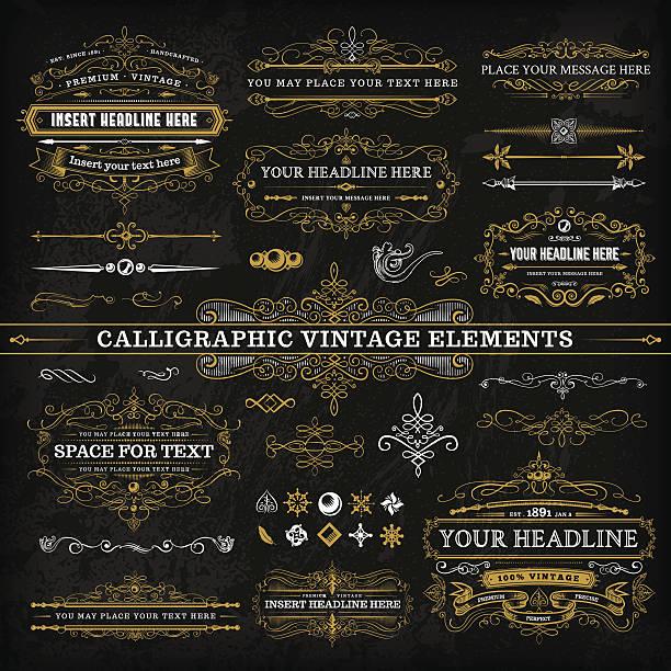 Calligraphic kompletny zestaw Vintage elementy - – artystyczna grafika wektorowa