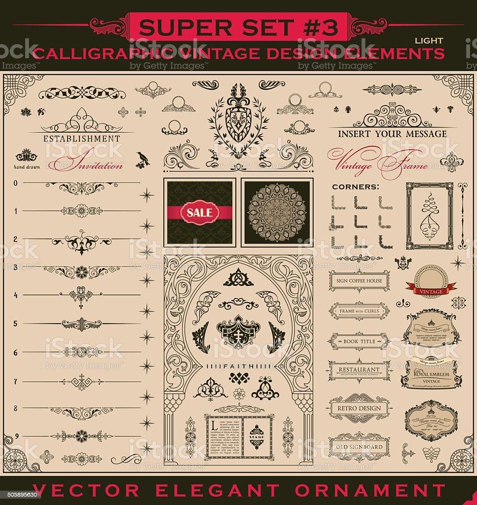 Calligraphic vintage elements. Vector baroque set. Design icons vector art illustration