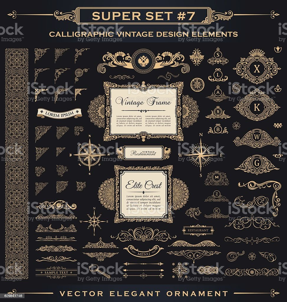 Calligraphic vintage elements. Vector baroque set. Design icons vector art illustration