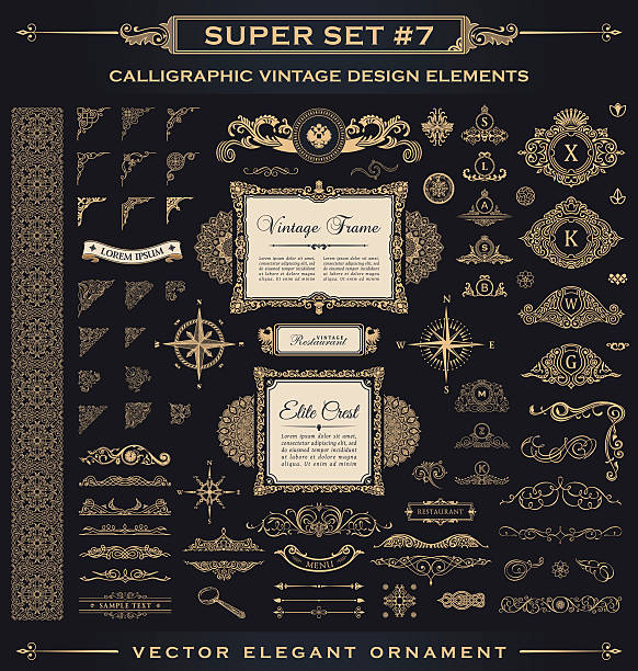 stockillustraties, clipart, cartoons en iconen met calligraphic vintage elements. vector baroque set. design icons - barokstijl