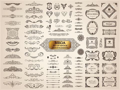 Vintage crest old elements. Calligraphic Design emblems set. Vector flourishes illustration. Border frame royal ornament page divider, decoration menu, card, invitations, labels, Restaurant, Cafe, Hotel