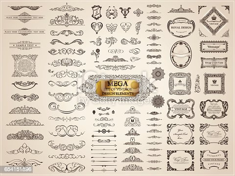 Vintage crest old elements. Calligraphic Design emblems set. Vector flourishes illustration. Border frame royal ornament page divider, decoration menu, card, invitations, labels, Restaurant, Cafe, Hotel