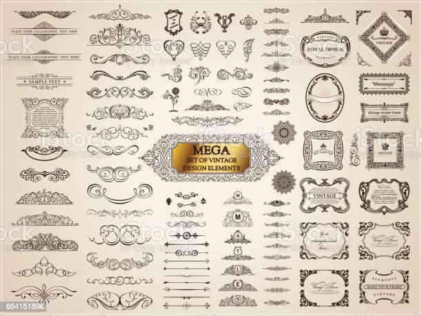 Calligraphic vintage elements vector baroque set design icons vector id654151896?b=1&k=6&m=654151896&s=612x612&h=sibyygt47svstdmktzgfeufyo8mi7ibmbei197g3hdg=
